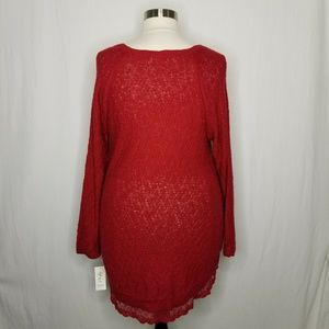 Style & Co Sweaters - Style & Co Red Lace-Trimmed Tunic Knit Sweater
